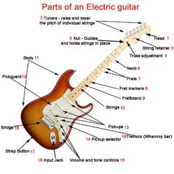 parts of a guitar guitar diagrams rh guitar skill builder com Electric Guitar Anatomy Electric Guitar Bridge