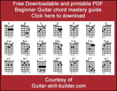 Beginner guitar chords chart PDF Downloadable printable