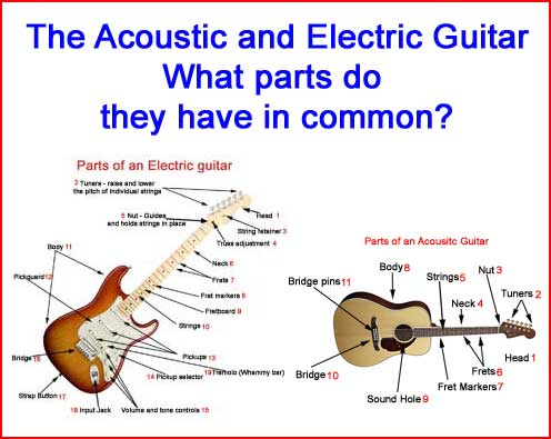 Parts of an electric and acoustic guitar