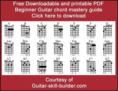 picture about Printable Guitar Chords Chart Pdf called Rookie guitar chords - Very simple guitar chords that every person takes advantage of.